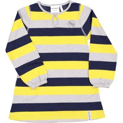 Geggamoja meriinovillane kleit, kollane triibuline