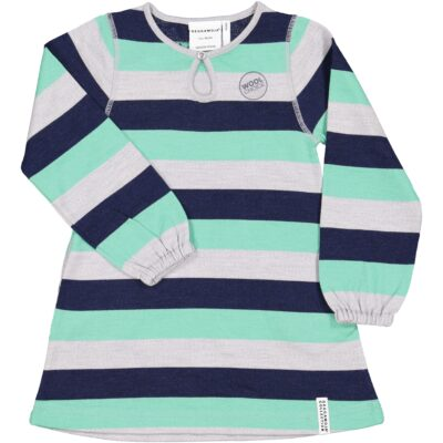 Geggamoja meriinovillane kleit, roheline triibuline