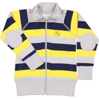 Geggamoja meriinovillane lukuga jakk, kollane triibuline