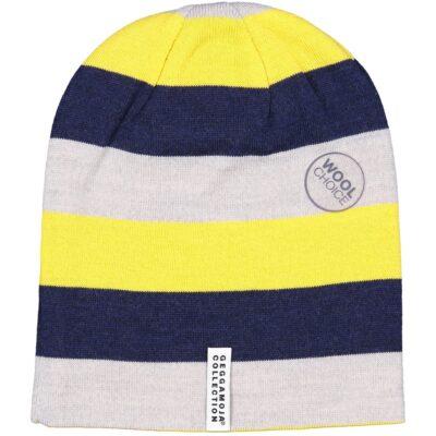 Geggamoja meriinovillane müts, kollane triibuline