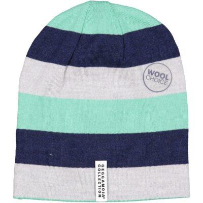 Geggamoja meriinovillane müts, roheline triibuline