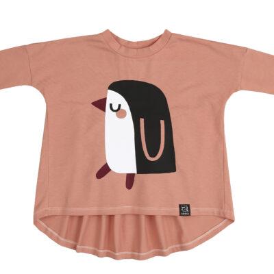 KUKUKID oversized tuunika, Single Pink Penguin