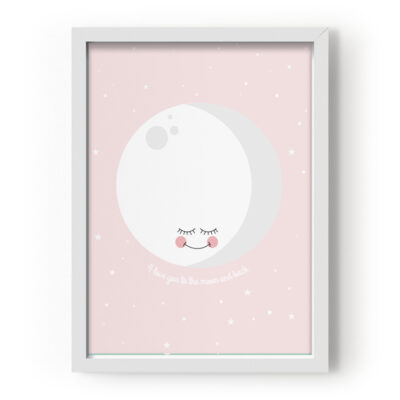 EEF Lillemor Poster I Love You To The Moon And Back - Roosa 29.7x42